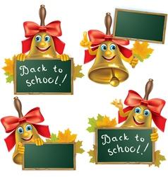 Funny school bell with blackboard vector