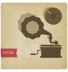 Old background with gramophone and record vector