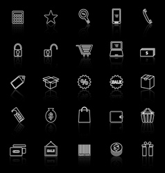 Shopping line icons with reflect on black vector