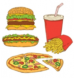 Set of fast food v vector
