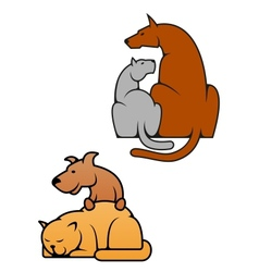 Domestic pets cat and dog vector