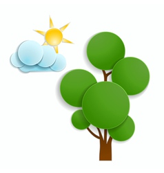Tree and cloud vector
