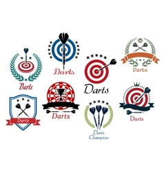 Darts sporting emblems symbols and icons vector