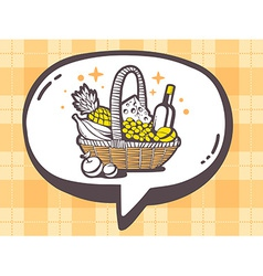 Speech bubble with icon of basket with fo vector