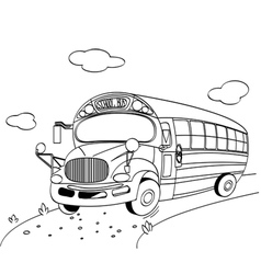 Coloring page of a school bus vector
