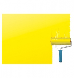 Yellow paint roller background vector