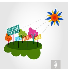 Go green city sun trees and solar panels vector