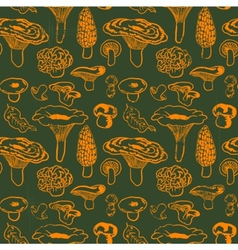Seamless pattern with mushrooms and leaves vector