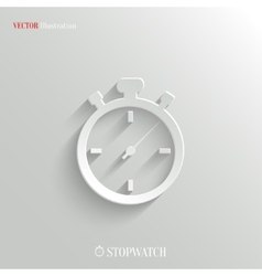 Stopwatch icon - white app button vector