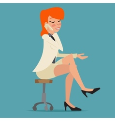 Cartoon business woman happy smiling lady vector