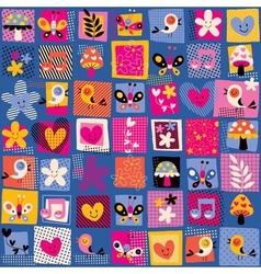 Cute flowers birds hearts pattern vector