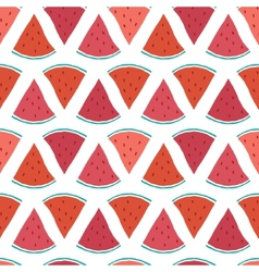 Tasty watermelon slices seamless pattern vector