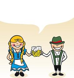 German cartoon couple bubble dialogue vector