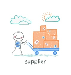 Supplier walks with a cart of goods vector
