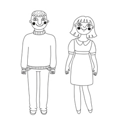 Drawn man and woman young couple vector