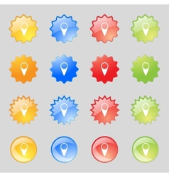 Map pointer icon gps location symbol set colourful vector