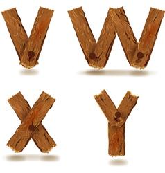 Wooden v w x y vector