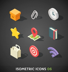 Flat isometric icons set 6 vector