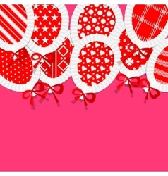 Simple red paper balloons with pattern fill lace vector