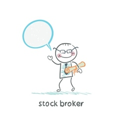 Stock broker with documents says vector