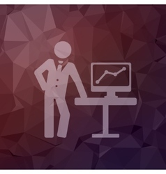 Businessman explaining graphic in flat style icon vector