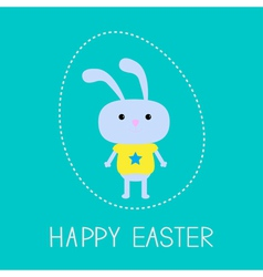 Easter bunny in the dash egg card vector