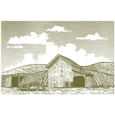 Woodcut barn yard vector