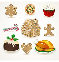 Set of tasty christmas icons vector