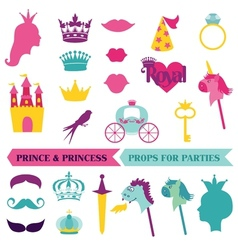 Prince and priness party set - photobooth props vector