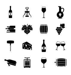Wine icons set black vector