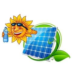 Sun and solar panel vector