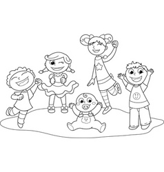Five happy children vector
