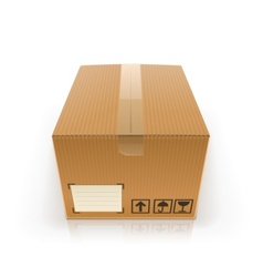 Closed cardboard box vector
