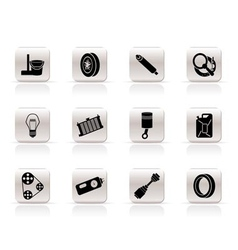 Simple car parts and services icons vector