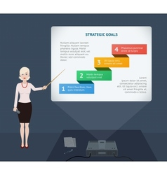 Business woman presenting annual report vector