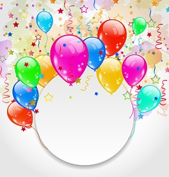 Modern birthday greeting card with set balloons vector
