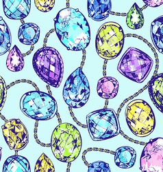 Hand drawn precious stones vector