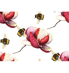 Magnolia and bee pattern2 vector