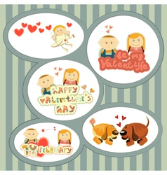 Valentines day set of stickers vector