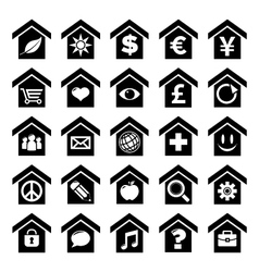 Home icons with symbols vector