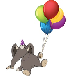 The elephant calf and birthday balloons cartoon vector