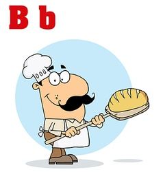 Cartoon baker with letter vector