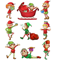 Playful santa elves vector