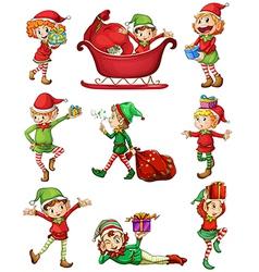 Playful santa elves vector