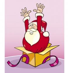 Santa in gift box vector