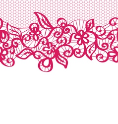 Seamless red lace with floral pattern vector