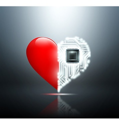 Human heart with the circuit board inside vector