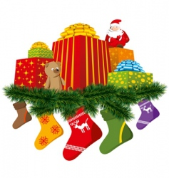 Christmas gifts with sock vector