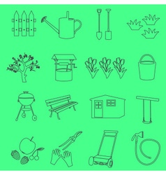 Garden simple outline symbols and icons eps10 vector