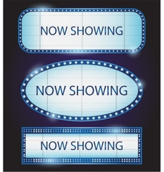 Retro showtime sign theatre cinema vector